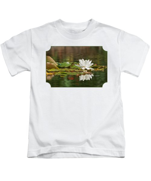 White Water Lily With Damselflies Kids T-Shirt