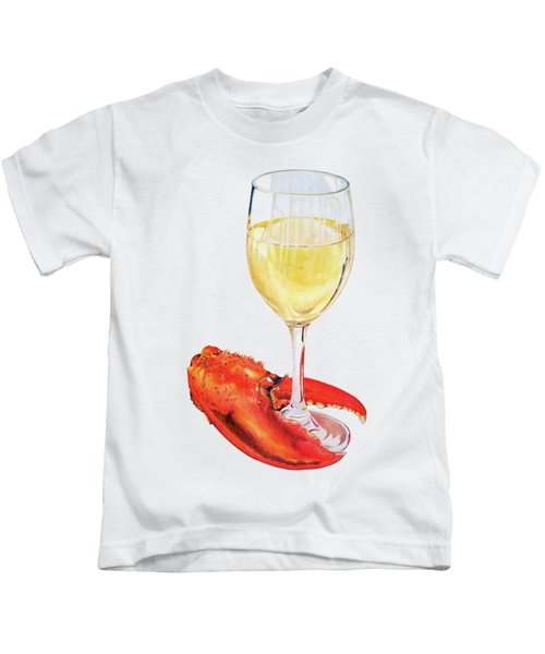 White Wine And Lobster Claw Kids T-Shirt