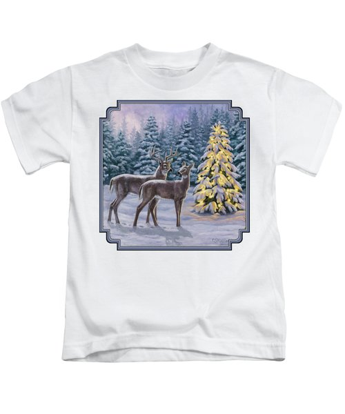 Whitetail Christmas Kids T-Shirt by Crista Forest