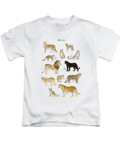 Wild Cats Kids T-Shirt by Amy Hamilton