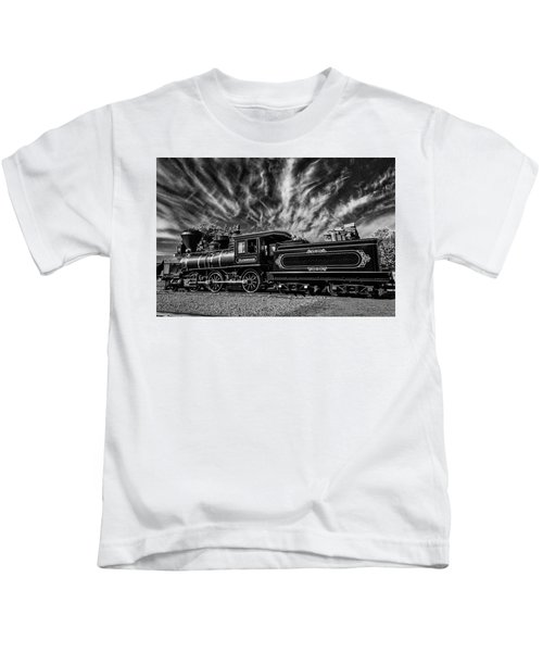 Wild Clouds Over Old Train Kids T-Shirt