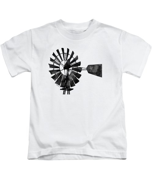 Windmill In Black And White Kids T-Shirt by Hailey E Herrera