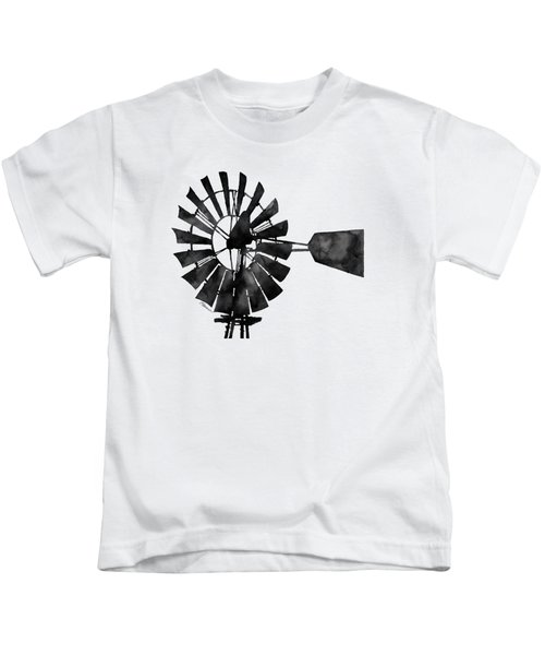 Windmill In Black And White Kids T-Shirt
