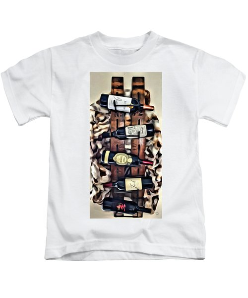 Kids T-Shirt featuring the painting Wine Rack by Marian Palucci-Lonzetta