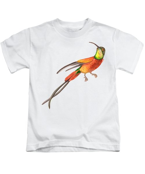 Winged Jewel 6, Watercolor Tropical Rainforest Hummingbird Red, Yellow, Orange And Green Kids T-Shirt