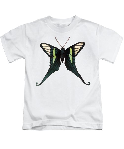 Winged Jewels 3, Watercolor Tropical Butterfly With Curled Wing Tips Kids T-Shirt