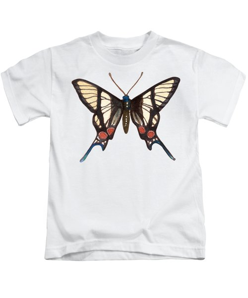 Winged Jewels 4, Watercolor Tropical Butterflie Black White Red Spots Kids T-Shirt