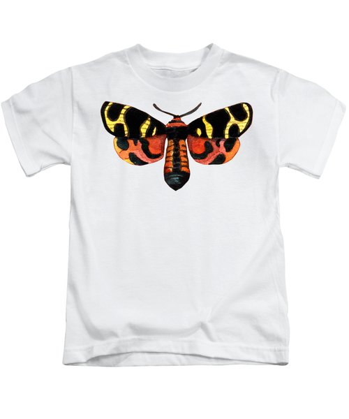 Winged Jewels 5, Watercolor Moth Black Yellow Orange And Red Tropical Kids T-Shirt