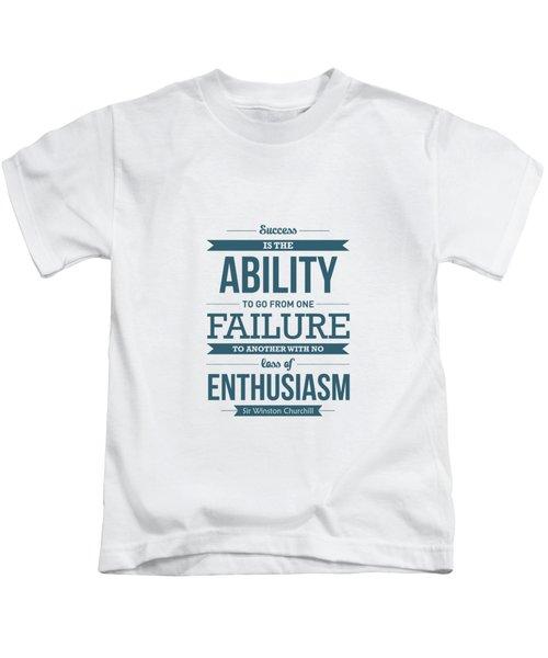 Winston Churchill British Politician Typography Quote Poster Kids T-Shirt