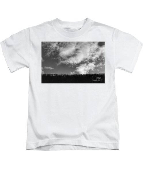 Winter Clouds Over The Delaware River Kids T-Shirt