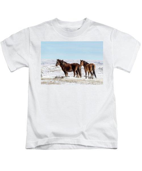 Winter In Sand Wash Basin - Wild Mustangs Kids T-Shirt