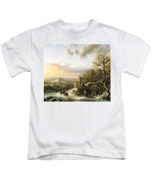 Winter Landscape With Peasants Gathering Wood Kids T-Shirt