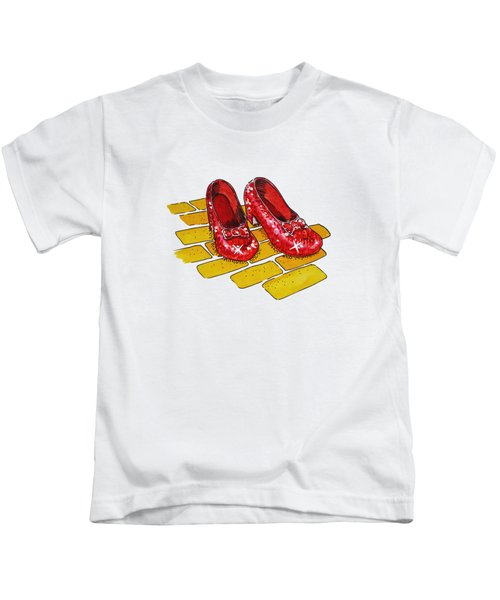 Wizard Of Oz Ruby Slippers Kids T-Shirt by Irina Sztukowski