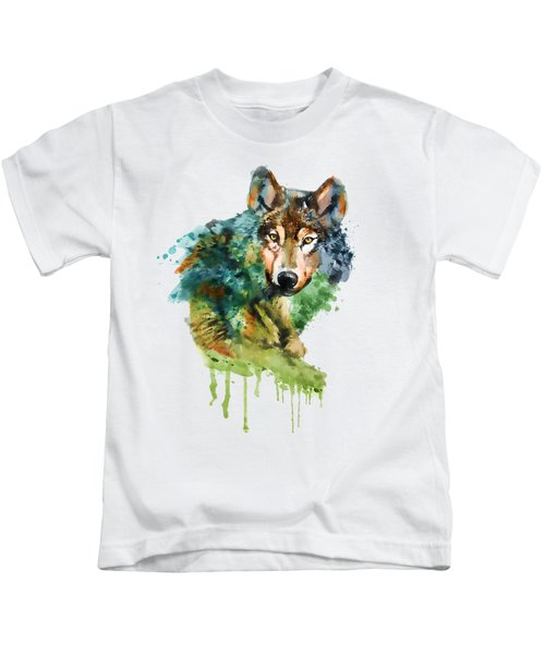 Wolf Face Watercolor Kids T-Shirt by Marian Voicu