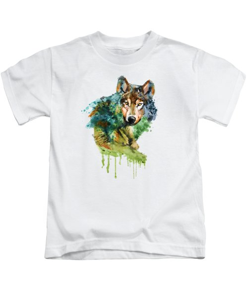Wolf Face Watercolor Kids T-Shirt