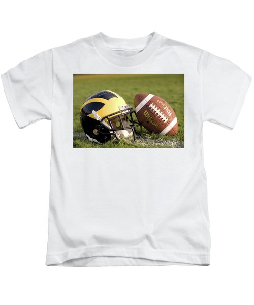 Wolverine Helmet With Football On The Field Kids T-Shirt