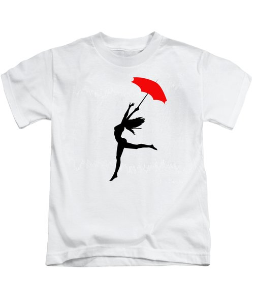 Woman Dancing In The Rain With Red Umbrella Kids T-Shirt