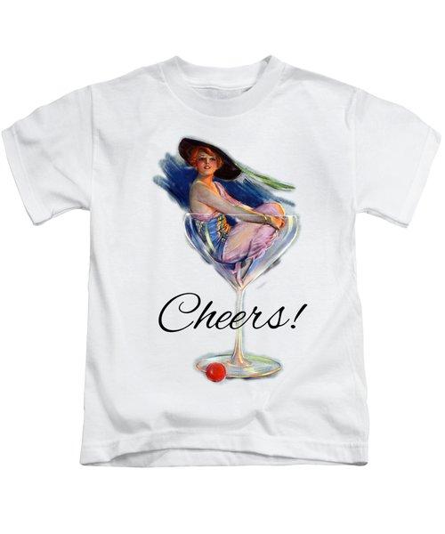 Woman In Wine Glass Kids T-Shirt