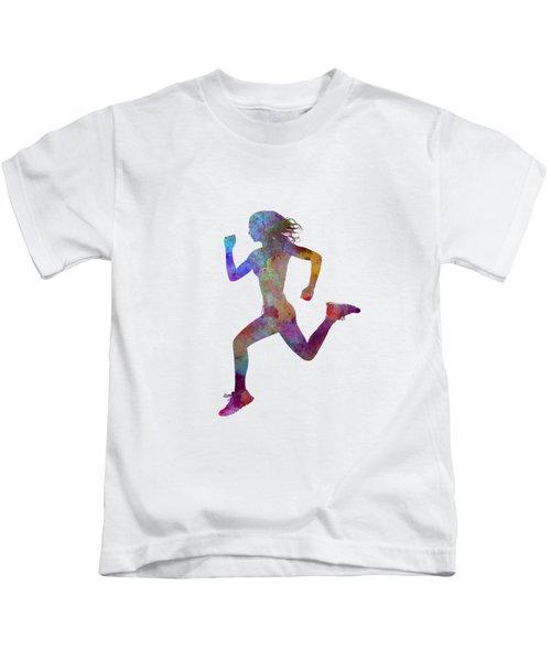 Woman Runner Running Jogger Jogging Silhouette 01 Kids T-Shirt