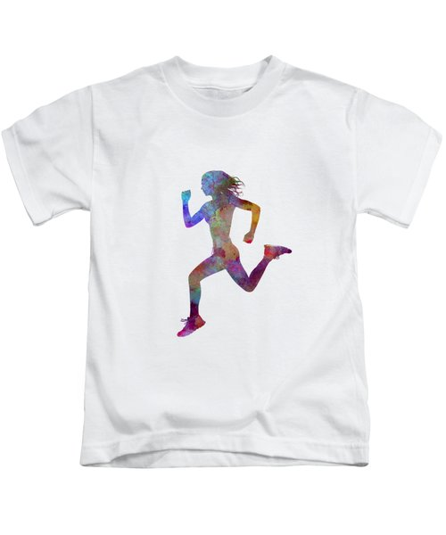 Woman Runner Running Jogger Jogging Silhouette 01 Kids T-Shirt
