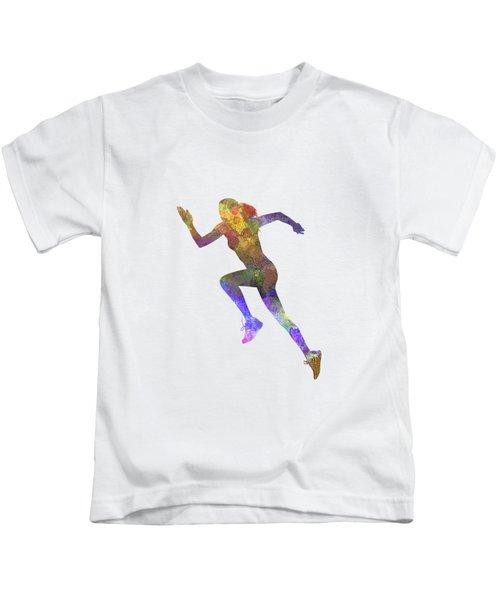 Woman Runner Running Jogger Jogging Silhouette 03 Kids T-Shirt