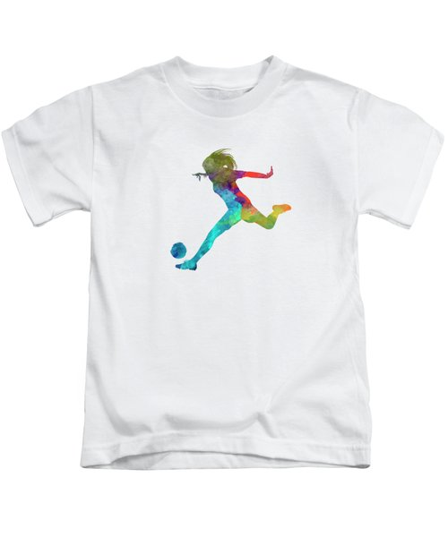 Woman Soccer Player 01 In Watercolor Kids T-Shirt by Pablo Romero