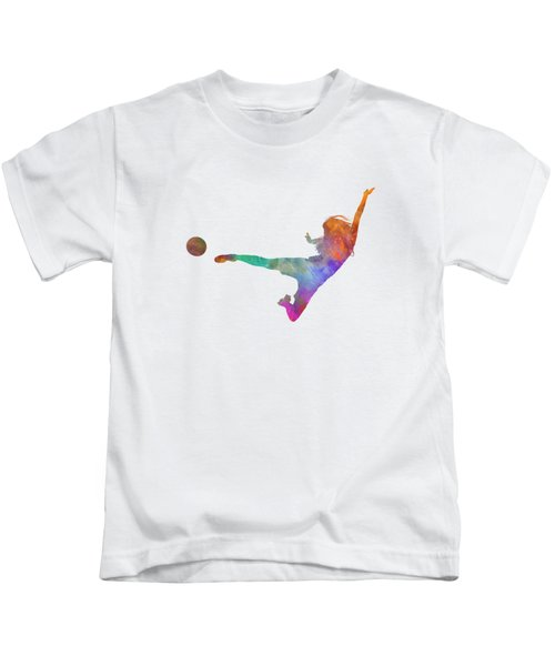 Woman Soccer Player 02 In Watercolor Kids T-Shirt by Pablo Romero