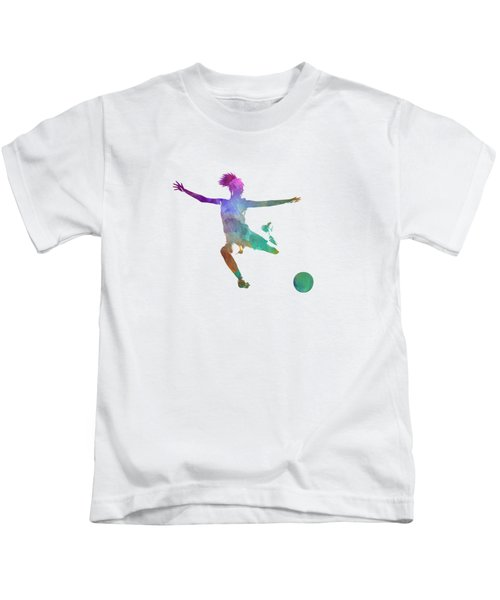 Woman Soccer Player 03 In Watercolor Kids T-Shirt by Pablo Romero