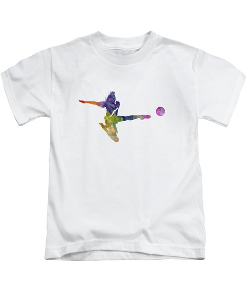 Woman Soccer Player 04 In Watercolor Kids T-Shirt by Pablo Romero