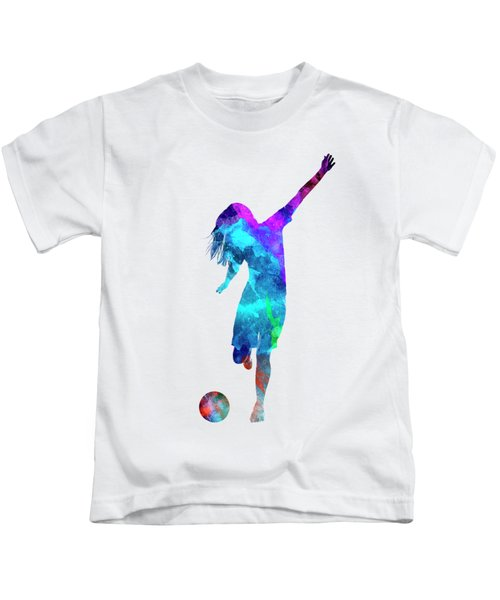 Woman Soccer Player 05 In Watercolor Kids T-Shirt by Pablo Romero