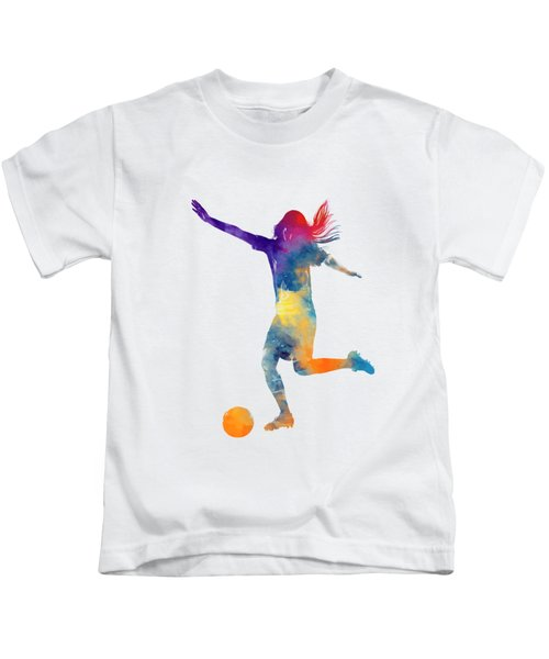 Woman Soccer Player 07 In Watercolor Kids T-Shirt