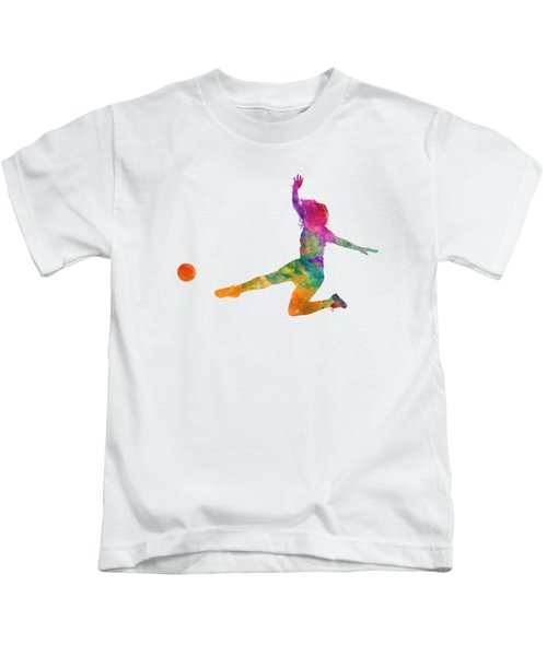 Woman Soccer Player 11 In Watercolor Kids T-Shirt by Pablo Romero