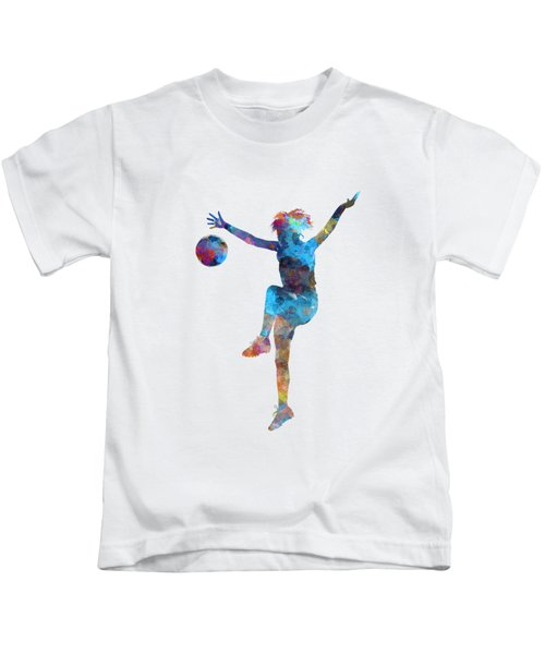 Woman Soccer Player 12 In Watercolor Kids T-Shirt