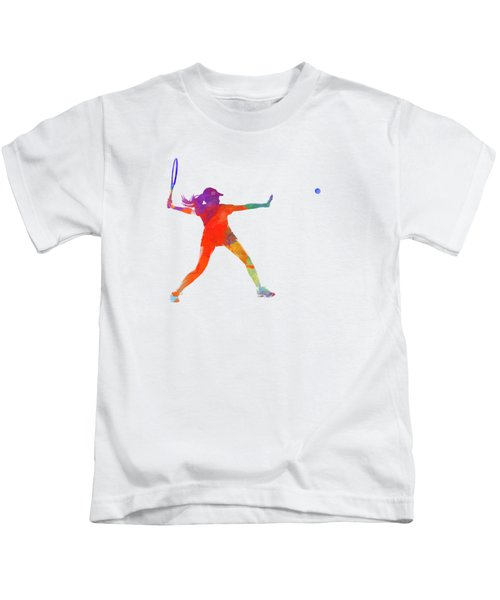 Woman Tennis Player 01 In Watercolor Kids T-Shirt by Pablo Romero
