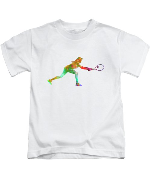 Woman Tennis Player Sadness 02 In Watercolor Kids T-Shirt by Pablo Romero