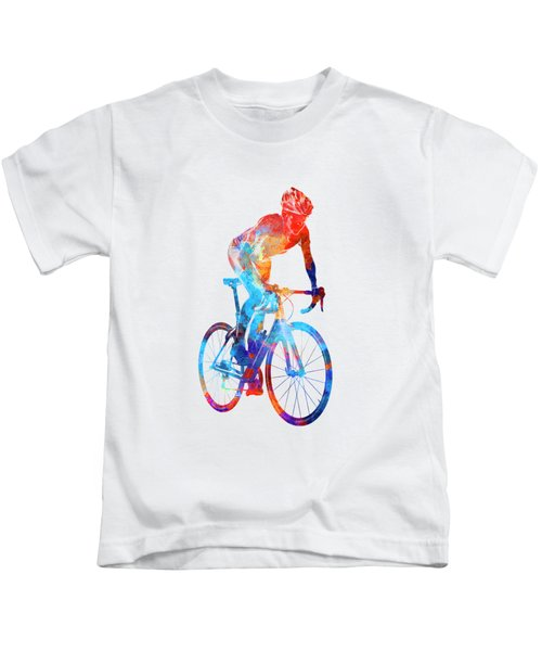 Woman Triathlon Cycling 06 Kids T-Shirt by Pablo Romero