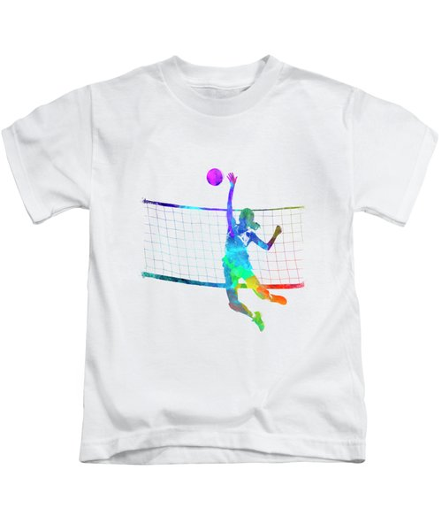 Woman Volleyball Player In Watercolor Kids T-Shirt