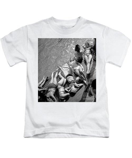 Women In Bikini Tanning At Deligny Swimming Pool In Paris, July 1946 Kids T-Shirt