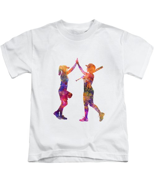 Women Playing Softball 01 Kids T-Shirt