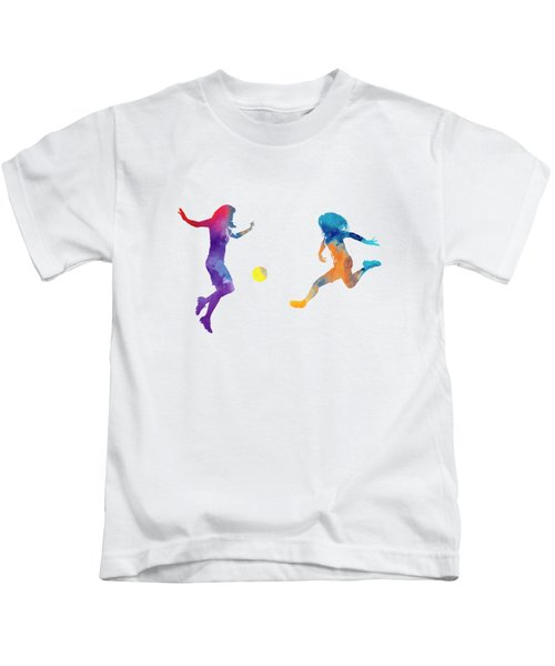 Women Soccer Players 01 In Watercolor Kids T-Shirt by Pablo Romero