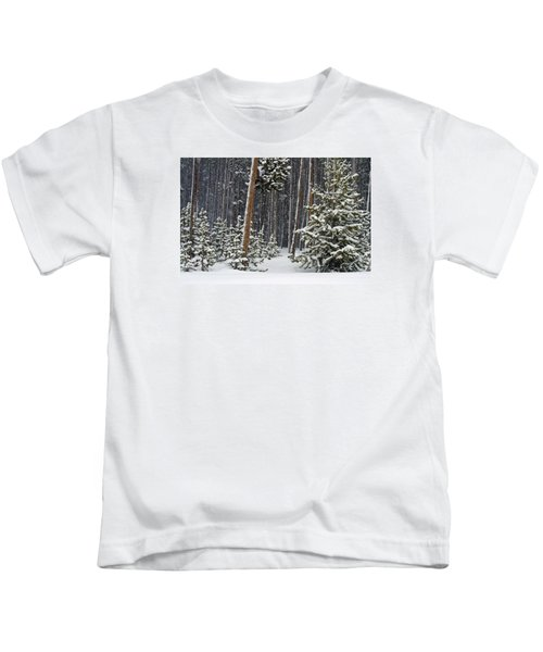 Woodland Snowstorm In Yellowstone Kids T-Shirt