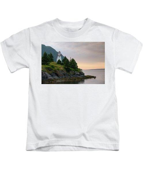 Woody Point Lighthouse - Bonne Bay Newfoundland At Sunset Kids T-Shirt