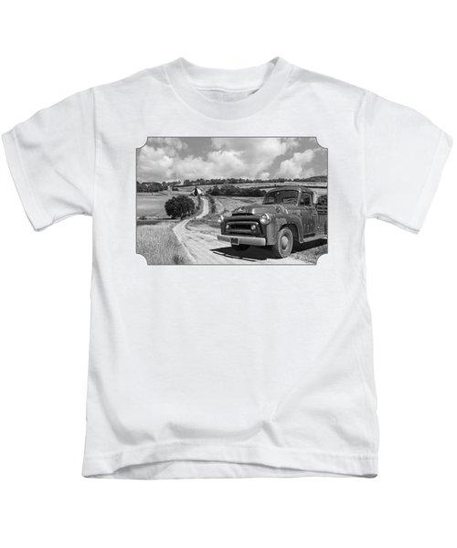 Down On The Farm- International Harvester In Black And White Kids T-Shirt