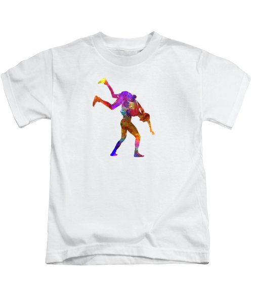 Wrestlers Wrestling Men 03 In Watercolor Kids T-Shirt