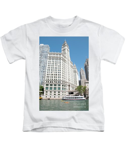 Wrigley Building Overlooking The Chicago River Kids T-Shirt