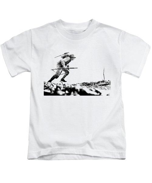 Wwii Marine Crosses Death Valley Okinawa Kids T-Shirt