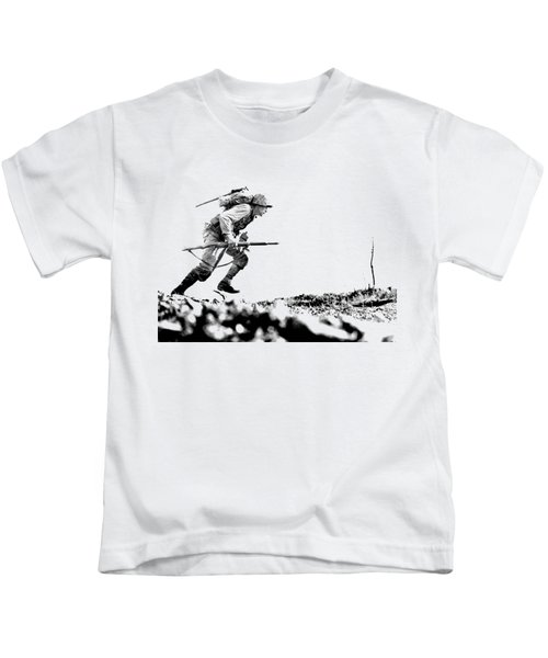 Wwii Marine Crosses Death Valley Okinawa Kids T-Shirt