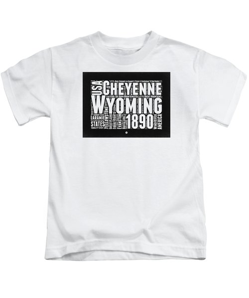 Wyoming Black And White Word Cloud Map Kids T-Shirt