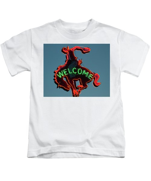 Kids T-Shirt featuring the photograph Wyoming Cowboy Vintage Neon Sign by Gigi Ebert