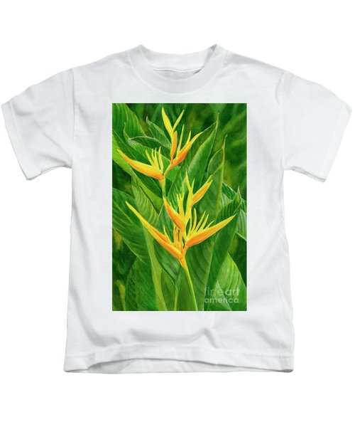Yellow Orange Heliconia With Leaves Kids T-Shirt